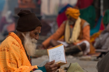 Some of the faithful read the prayer book for hours, never stopping and looking away from the book
