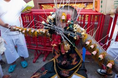 Bang Neow Shrine Phuket Vegetarian festival. The act of purification