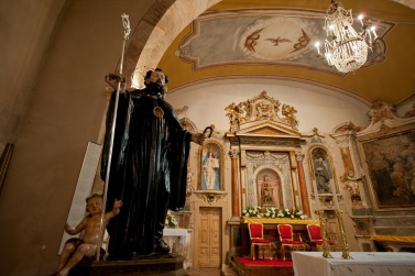The Rite of Serpari. Cocullo, Italy. The statue of San Domenico inside the church dedicated to him, before going out for the procession through the streets of the village