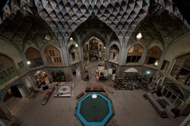 The Khan Amin al Dowleh Timche, the beautiful caravanserai inside the Kashan Bazaar