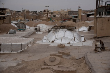 A view from the roof of the Bazaar of Kashan, with the typical cupolas that are used to let in the air and light in the galleries below