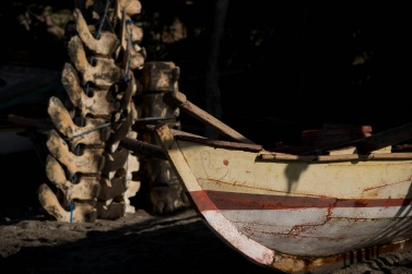 The typical wooden boat used for fishing, and in the background a vertebral column of a whale