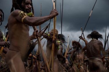 It is already late afternoon, and the fight must end so that the warriors may return to their villages before it gets dark. Although they are all brave men, none of them wants to walk in the jungle in the dark, because evil spirits revolve in the forest a