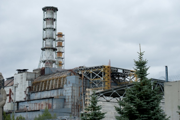 The reactor where the fire broke out, at the nuclear plant of Chernobyl