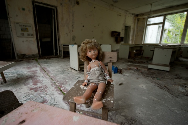 The Chernobyl school. Inside the classrooms there is still everything left, books, notebooks and little girls' dolls