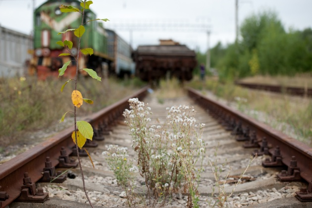 The old Chernobyl train station. It is forbidden to get on trains because they are still contaminated by radiation