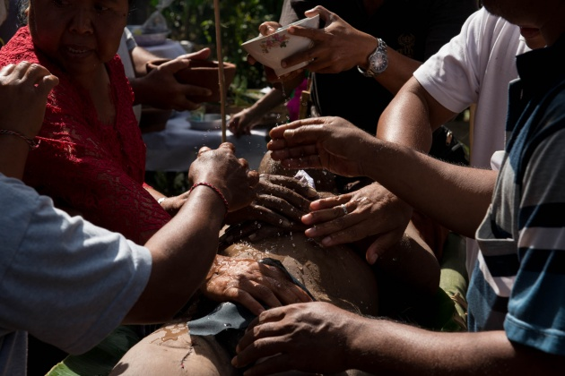 Island of Bali Indonesia. The corpse washing ritual is very important for the Hindu religion